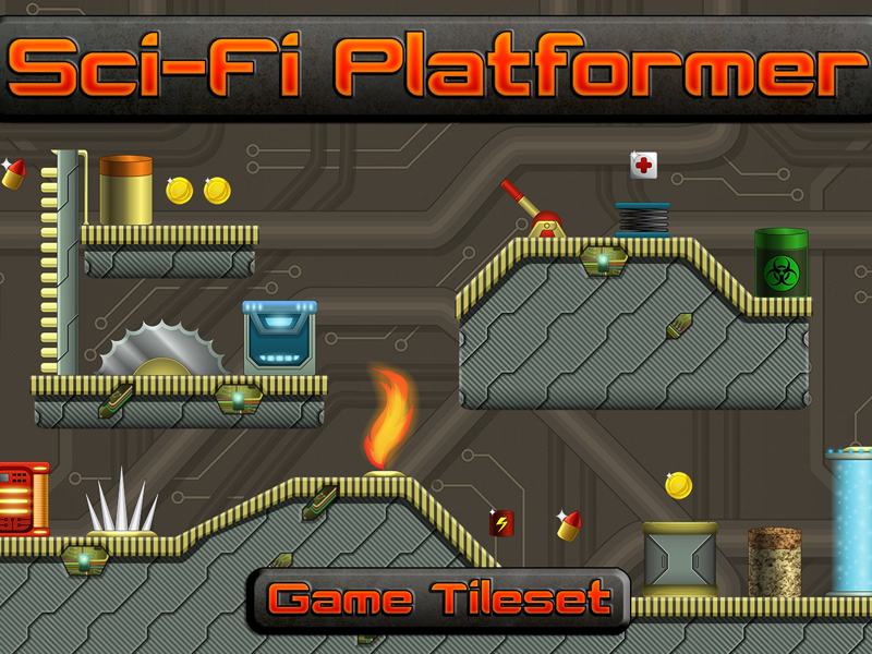Sci-Fi Platformer 2D Tileset by 2D Game Assets on Dribbble
