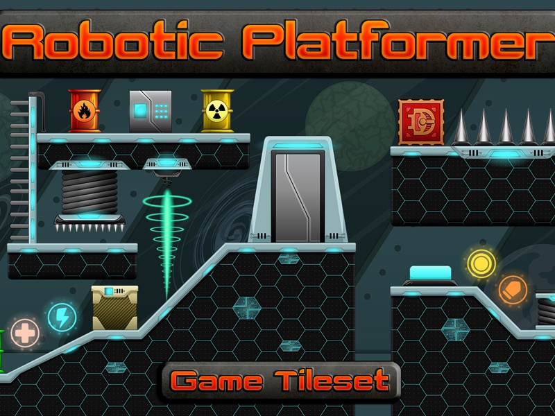 robotic platformer 2d tileset by 2d game assets on dribbble