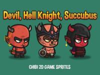 Devil, Hell Knight, Succubus Chibi Sprites