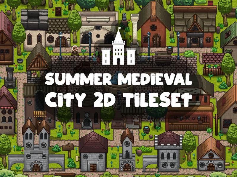 Summer Medieval City Tile set by 2D Game Assets on Dribbble