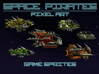 Space Pirates Game Sprites Pixel Art