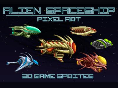 Space Alien Game Sprites Pixel Art spaceship pixel art game assets 2d game gamedev