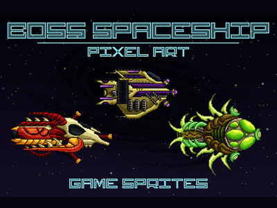 Boss Spaceship 2D Sprites Pixel Art pixel art spaceship game assets 2d game gamedev