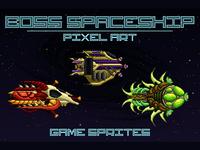 Boss Spaceship 2D Sprites Pixel Art