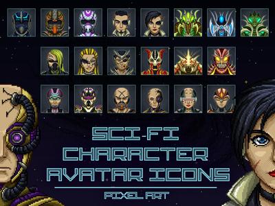 Sci Fi Character Avatar Pixel Art pixel art avatar sci fi rpg character game assets game gamedev