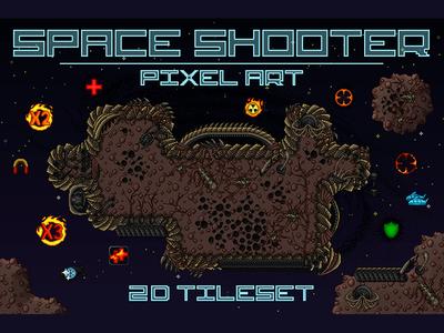 Space Shooter Tileset Pixel Art pixel art tileset space shooter game assets game gamedev