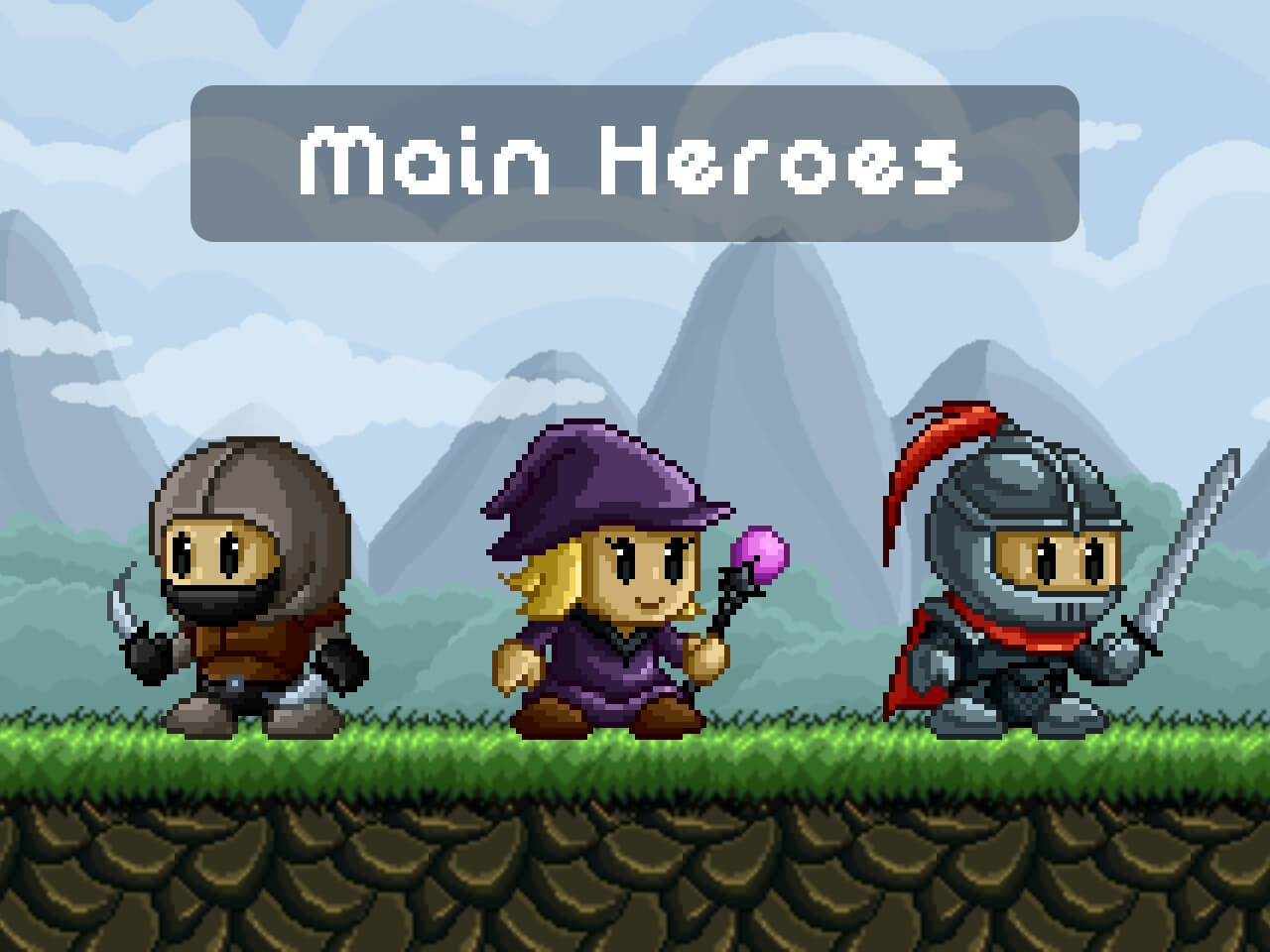 Fantasy Game Main Heroes Pixel Art by 2D Game Assets on Dribbble