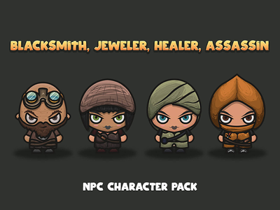 NPC Character Pack : Blacksmith, Jeweller, Healer, Assassin