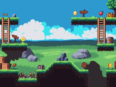 Pixel Art Platformer 2D Tileset