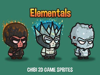 Elemental 2d Game Sprites