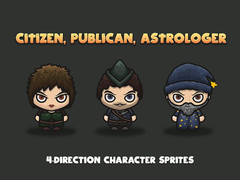 NPC 4-Direction Character Sprites by 2D Game Assets on Dribbble