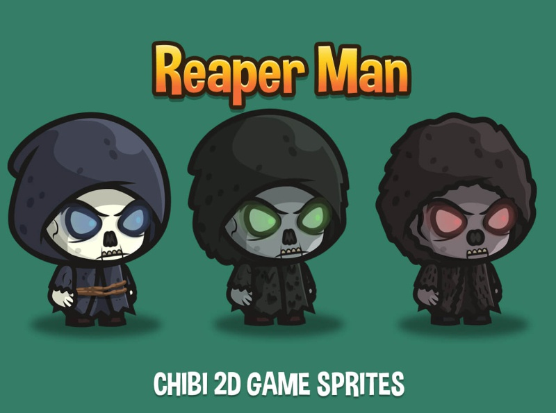 Free Reaper Man Chibi Sprites by 2D Game Assets on Dribbble