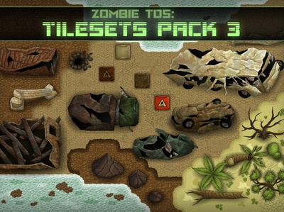 Tileset: sand, stones, plants, water, destroyed cars
