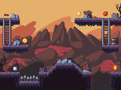 Platformer Hell Game Tileset Pixel Art