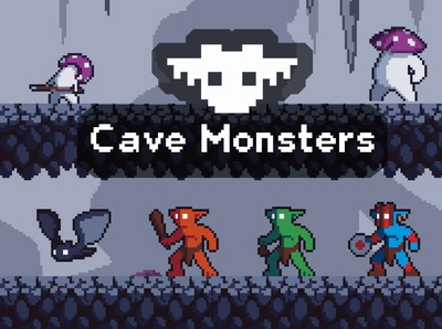Cave Monster Pixel Art Game Sprites