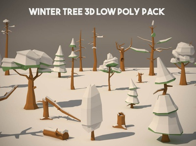 Free Winter Tree 3D Low Poly Pack