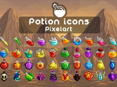 40 Potion Icons Pixel Art
