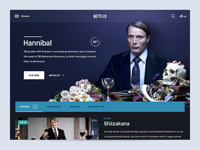 Hannibal Netflix iPad App hannibal user interface movies ipad app netflix