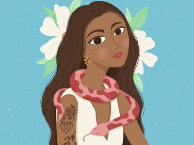 Snake Girl challenge draw this in your style tattoos snake flowers procreate cute hand-drawn illustration portrait character