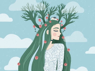 Whimsical Forest Spirit draw this in your style woman roses spirit forest magic procreate character nature illustration