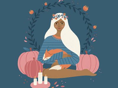 Autumn Flower Girl whimsical fall autumn pumpkins fox flowers magical cute procreate character illustration