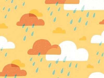 Clouds & Rain Pattern weather sky rain clouds graphical colourful fun cute nature procreate pattern illustration