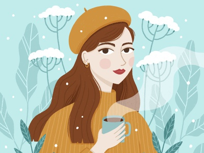 Winter Girl challenge draw this in your style winter portrait flowers nature character procreate cute illustration