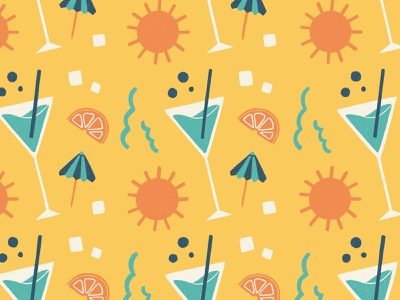 Cocktail Pattern beach sun summer cocktail colorful fun pattern procreate illustration