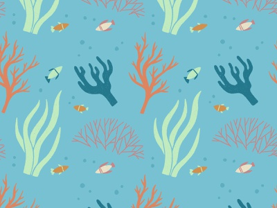 Ocean Pattern nature seaweed coral reef marine life under the sea ocean pattern procreate illustration