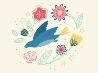 Bird & Flowers Illustration