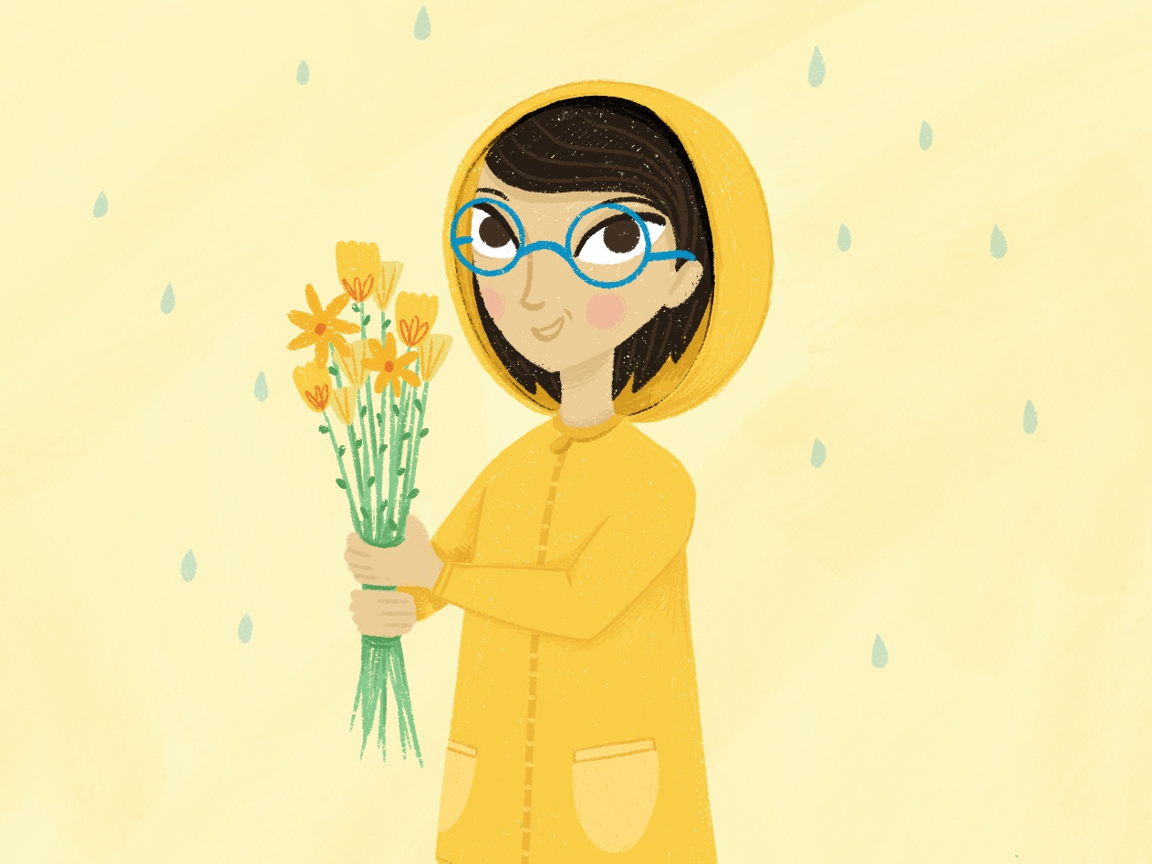 'Kids in Colorz' Challenge kids raincoat spring flowers yellow challenge rainbow colourful children youthful character illustration