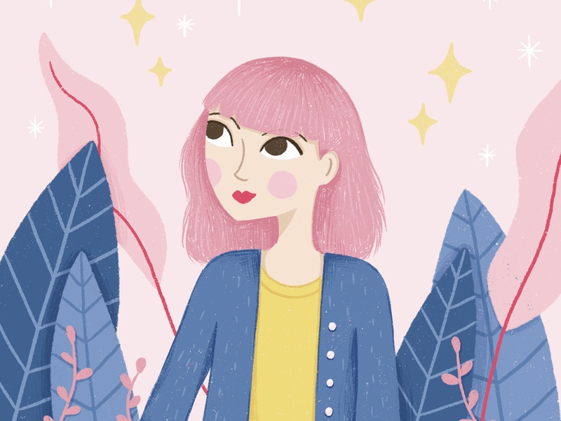 Pink Hair Lady draw this in your style challenge magical stars leaves hand-drawn cute texture botanical pink hair character illustration