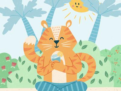 Tiger on Holiday Illustration