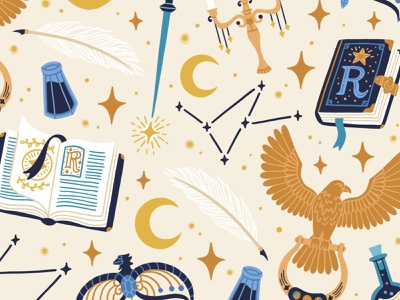 Ravenclaw Inspired Pattern stars wizard witch books illustration pattern moon constellations magical hogwarts ravenclaw harry potter