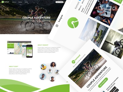 Komoot: Landing page, email & Instagram branding outdoor cycling landing page email graphic  design uidesign ui ux design