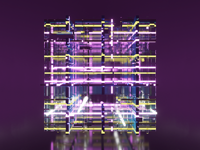 Neon Cube power grid abstract glow neon magicavoxel voxelart voxels voxel