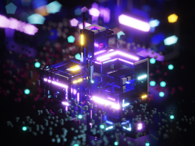 Sky Lights l future abstract isometric neon magicavoxel voxels voxel