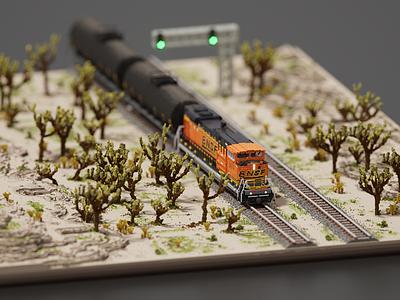 Little Train in the Desert cgart magicavoxel voxelart voxels