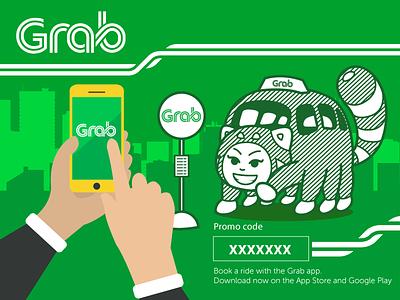 GRAB Taxi Promo ride-sharing uber panda character bus taxi malaysia mascot singapore grab