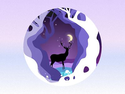 Moonlit elk night moonlit under forest the