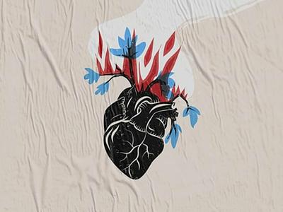 It's still burning newspaper journal magazine editorial illustrations drawings ilustrador activist fire environment environmental heart illustrator illustration forest