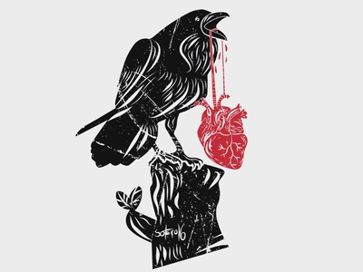 Stolen Heart darkart corvo coração stolen black raven crow heart illustration