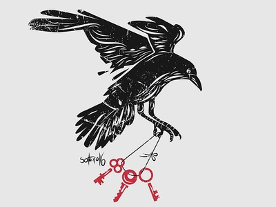 Stolen keys editorial magazine book corbeau corvo keys stolen black raven crow heart illustration