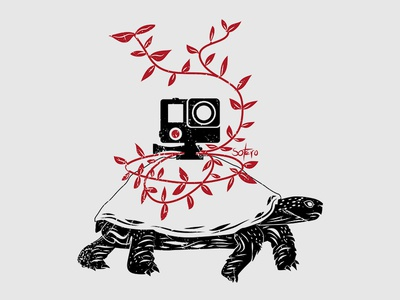 Hidden action camera doing a slow motion action camera gopro turtle ilustrador concept editorial magazine book illustration illustrateur