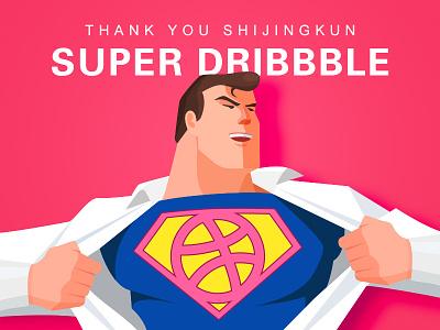 First Shot flat super man debut thanks invite illustration first shot dribbble