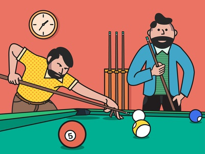 Playing Billiards illustrator illustration snooker sport ball man beard fashion line cartoon flat billiards