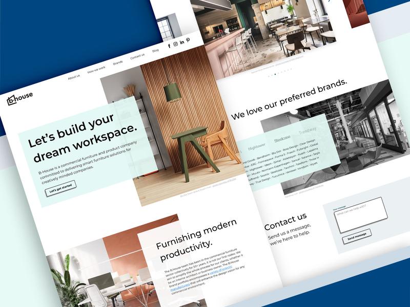 B.House Website landing page resimercial office house furniture florida contemporary ux ui web design brand design