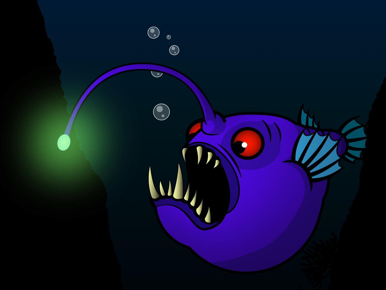 Angler Fish underwater angler fish anglerfish branding vector design illustrator illustration