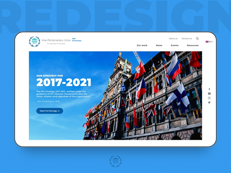 Inter Parliamentary Union Redesign typography minimalism interface webpage web 2.0 inter-parliamentary union ipu government parliament design minima ui  ux design ui redesign landing page homepage
