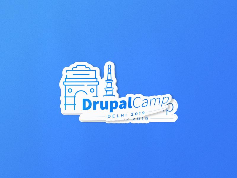 Sticker Mockup vector minimal qutub minar india gate illustration drupal camp delhi 2019 delhi 2019 delhi camp drupalcamp drupal blue and white gradient mockup sticker logo branding blue 2019 2019 trend